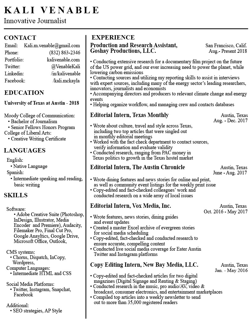 Venable_Resume_Sept2018